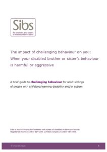 Challenging Behavior And Impact On >> Sibs Guide For Adult Siblings On Impact Of Challenging Behaviour
